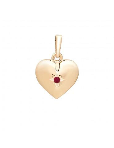 Nordahl guld hjerte med rubin