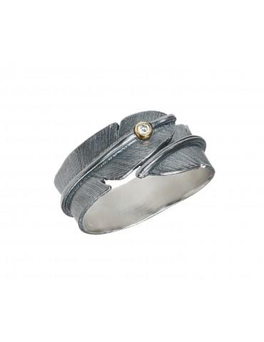 Heiring sølv ring fjer