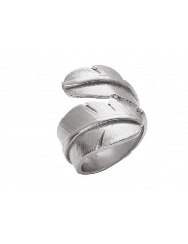Heiring sølv stor ring fjer