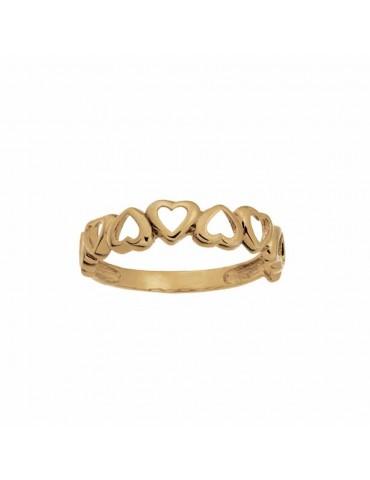 8kt guldring med hjerter