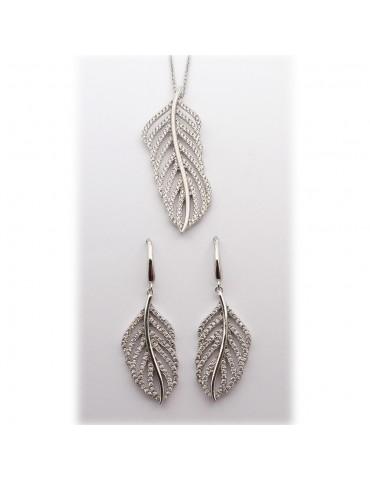 Sølv smykkesæt - fjer med...