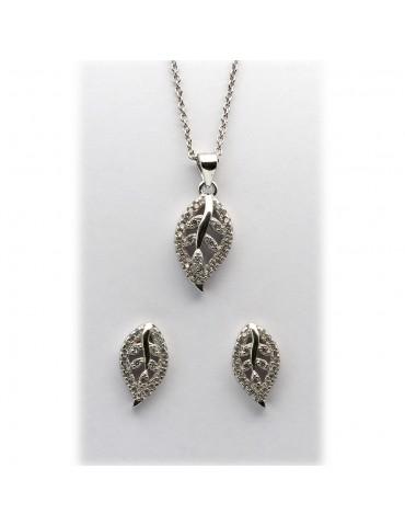 Sølv smykkesæt - blade med...