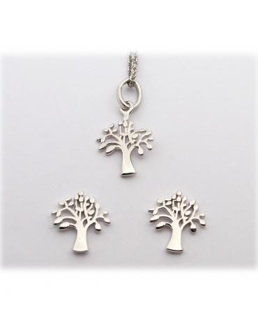 Sølv smykkesæt med livets træ